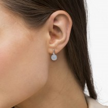 Vintage Style Leverback Diamond Earrings Floral 14k White Gold 0.15ct|escape