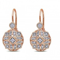 Vintage Style Leverback Diamond Earrings Floral 14k Rose Gold 0.15ct