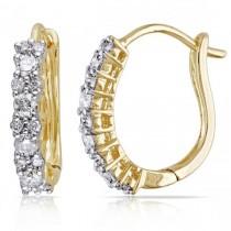 Diamond Huggies, Hoop Earrings for Women 14k Yellow Gold 0.50ct