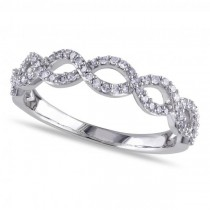 Twisted Semi Eternity Infinity Diamond Band 14k White Gold 0.25ct