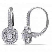 Double Halo Diamond Earrings for Women in 14k White Gold 0.50ct