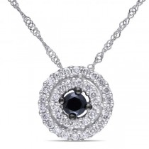 Black & White Diamond Pendant Necklace Halo 14k White Gold 0.50ct