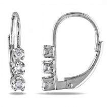 Graduated 3 Stone Diamond Drop Earrings Sterling Silver 0.25ct