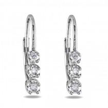 Graduated 3 Stone Diamond Drop Earrings Sterling Silver 0.25ct|escape