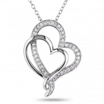 Double Open Heart Diamond Pendant Pave Set in Sterling Silver 0.25ct