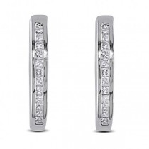 Channel Set Princess Diamond Huggie Earrings Sterling Silver 0.25ct
