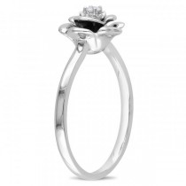 Round Shaped Diamond Rose Fashion Ring in Sterling Silver 0.05ct