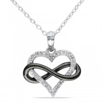 Diamond Heart w/ Black Rhodium Infinity Loop Sterling Silver 0.10ct