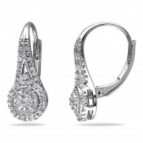 Diamond Cluster Drop Earrings with Halo Design Sterling Silver 0.25ct
