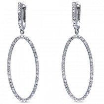 Hanging Circle Diamond Dangle Earrings Prong in Sterling Silver 0.10ct