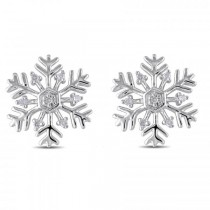 Snowflake Stud Earrings with Diamond Accents in Sterling Silver 0.06ct|escape