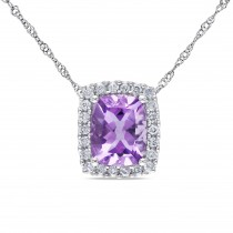 Diamond & Cushion Amethyst Halo Pendant Necklace 14k White Gold (2.25ct)