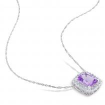 Diamond & Cushion Amethyst Halo Pendant Necklace 14k White Gold (2.25ct)