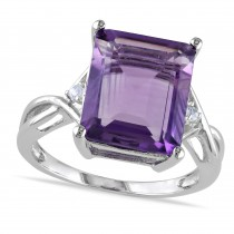 White Topaz & Purple Amethyst Fashion Ring Sterling Silver (5.88ct)