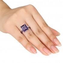 White Topaz & Purple Amethyst Fashion Ring Sterling Silver (5.88ct)