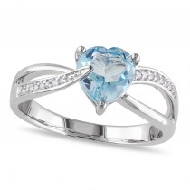 Diamond & Heart Blue Topaz Fashion Ring Sterling Silver (1.37ct)