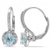 Aquamarine & Diamond Dangling Earrings Sterling Silver (1.56ct)