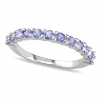 Semi Eternity Tanzanite Wedding Ring Band Sterling Silver (0.80ct)