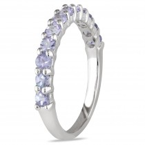 Semi Eternity Tanzanite Wedding Ring Band Sterling Silver (0.80ct)