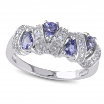 Pear Tanzanite Fashion Gemstone Ring Sterling Silver (0.60ct)