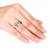 Diamond & Green Cushion Amethyst Fashion Ring Sterling Silver (4.10ct)