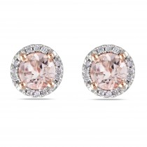 Diamond & Morganite Ear Pin Stud Earrings Rose Sterling Silver (1.07ct)