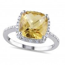 Diamond & Cushion Yellow Citrine Fashion Ring Sterling Silver (4.10ct)