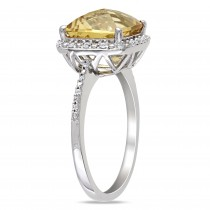 Diamond & Cushion Yellow Citrine Fashion Ring Sterling Silver (4.10ct)|escape