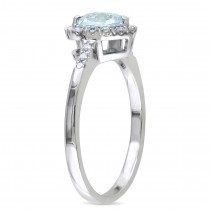 Diamond & Heart Aquamarine Fashion Ring Sterling Silver (0.73ct)