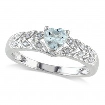 Diamond & Heart Aquamarine Floral Ring Sterling Silver (0.38ct)