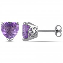 Heart-shape Purple Amethyst Pin Stud Earrings Sterling Silver (3.33ct)