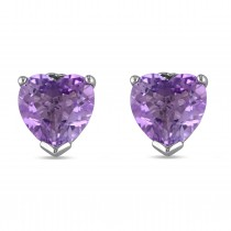Heart-shape Purple Amethyst Pin Stud Earrings Sterling Silver (3.33ct)