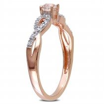 Diamond & Morganite Twisted Fashion Ring Rose Sterling Silver (0.27ct)