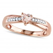 Diamond & Heart Morganite Fashion Ring Rose Sterling Silver (0.30ct)