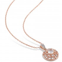 Diamond & Morganite Pendant Necklace Rose Sterling Silver (0.54ct)