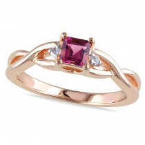 Diamond & Pink Tourmaline Bypass Ring Rose Sterling Silver (0.37ct)