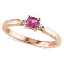 Diamond & Pink Tourmaline Fashion Ring Rose Sterling Silver (0.37ct)