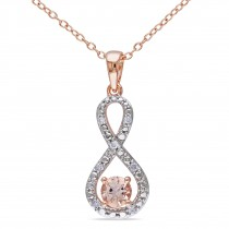 Diamond & Morganite Pendant Necklace Rose Sterling Silver (0.60ct)