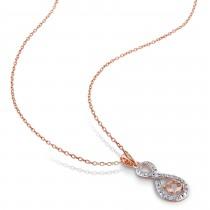 Diamond & Morganite Pendant Necklace Rose Sterling Silver (0.60ct)