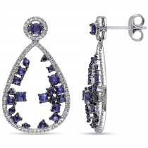 Blue Sapphire & Diamonds Dangling Earrings 14k White Gold (2.40ct)