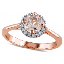 Diamond & Morganite Fashion Ring Rose Sterling Silver (0.90ct)