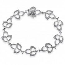 Diamond Accented Floral Bracelet 14k White Gold (0.54ct)