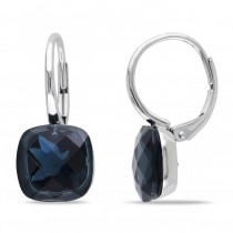 London Blue Topaz LeverBack Drop Earrings in 14k White Gold (10.50ct)