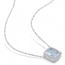 Diamond Accented Aquamarine Solitaire Pendant Necklace 14k White Gold (2.15ct)