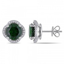 Diamond & Chrome Diopside Halo Stud Earrings 14k White Gold (4.30ct)