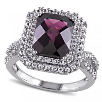 Diamond White Sapphire Rhodolite Garnet Ring 14k White Gold (4.10ct)