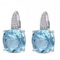 Diamond Sky Blue Topaz LeverBack Drop Earrings 14k White Gold 23.51ct