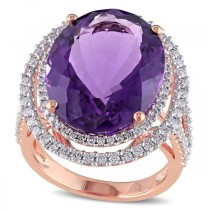 Diamond Accented Amethyst Fashion Ring in 14k Rose Gold (20.28ct)