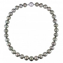Graduating Black Tahitian Pearl Strand Necklace 14k White Gold 10-13mm
