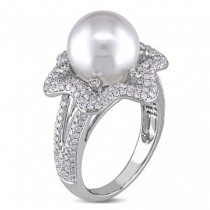 South Sea Pearl & Diamond Fashion Ring 14k White Gold 10-10.5mm 1.00ct|escape